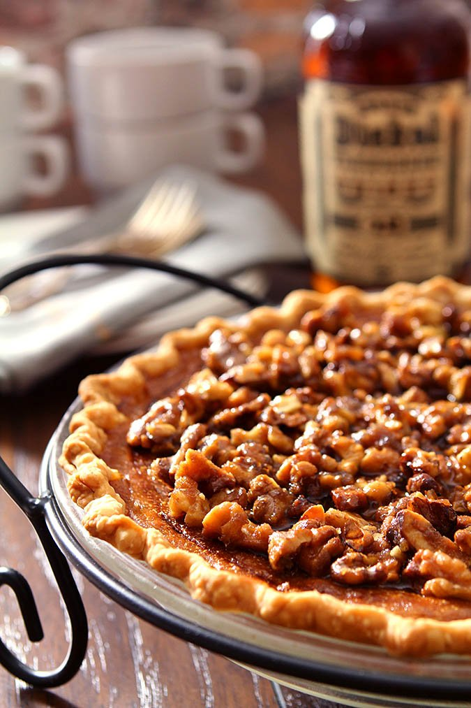 Bourbon Pumpkin Pie with Toasted Walnuts