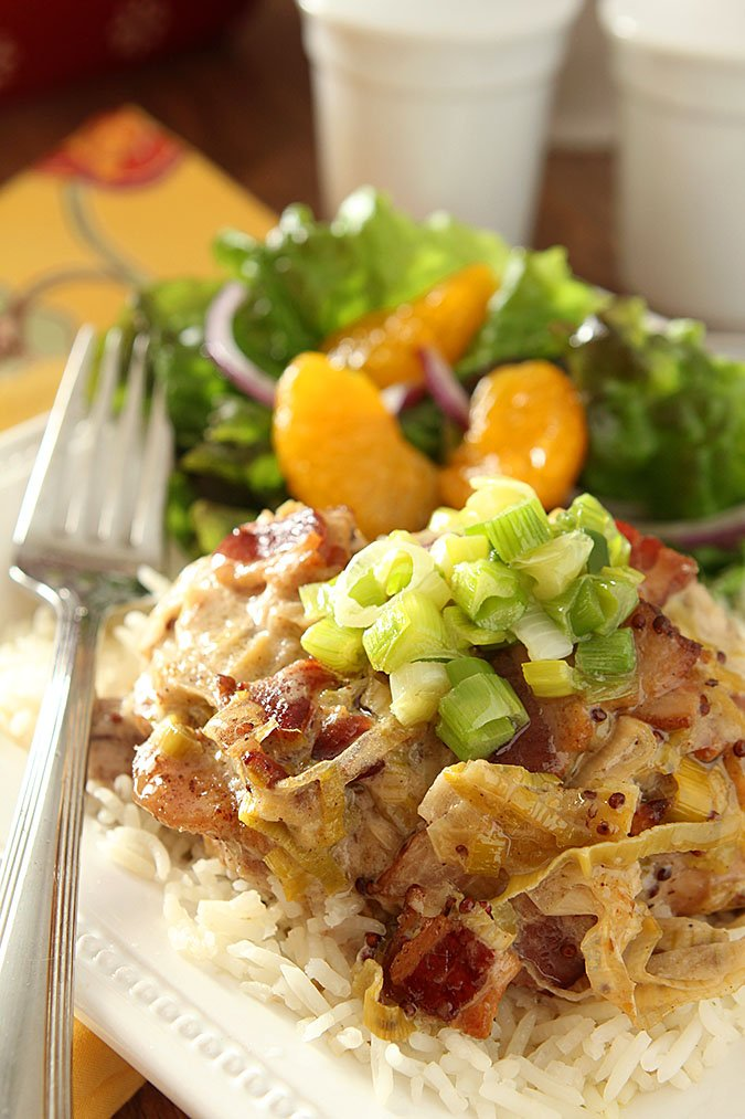 Baked Chicken with Leeks, Bacon and Mustard