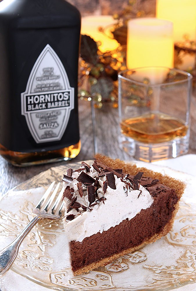 Mexican Hot Chocolate Pie Slice with a shot of Tequila