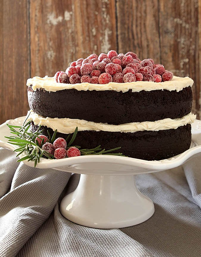 Red Wine Chocolate Cake with Sugared Cranberries