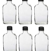 Nakpunar 6 pcs Glass Flask Bottles with Black Tamper Evident Cap - 200 ml