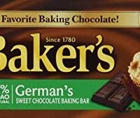 Baker's, German Sweet Chocolate, Baking Bar, 4oz Bar (Pack of 6)