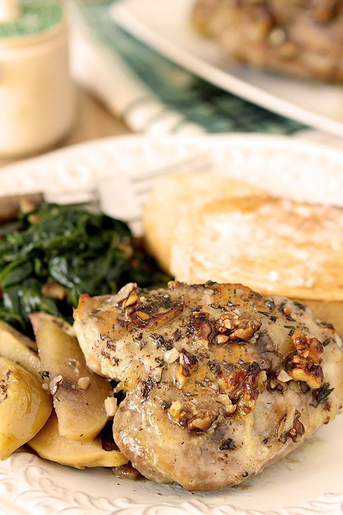 Apple Walnut Chicken with Honey Mustard Dressing Served with Greens and Potatoes