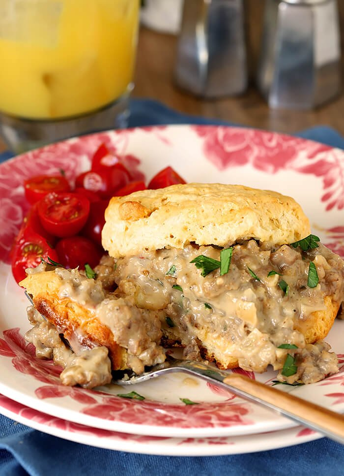 A Serving of Biscuits with Sausage and Maple Flavor White Gravy