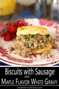 Plate of Biscuits with Sausage and Maple Flavor White Gravy with Cherry Tomatoes