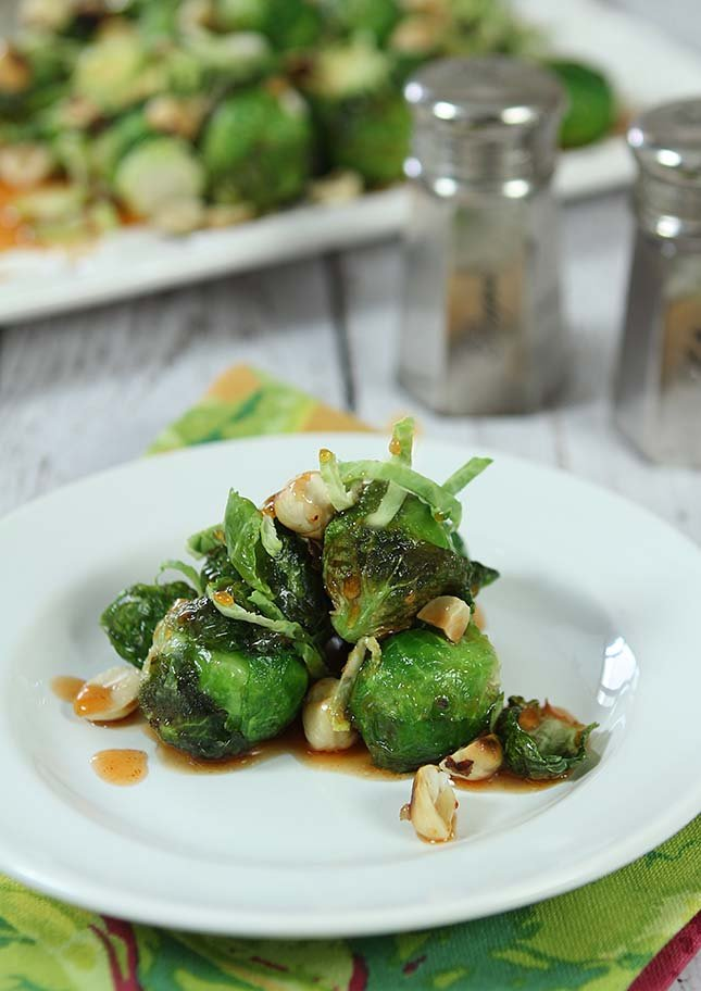 Fried Brussels Sprouts with Sriracha and Honey Glaze