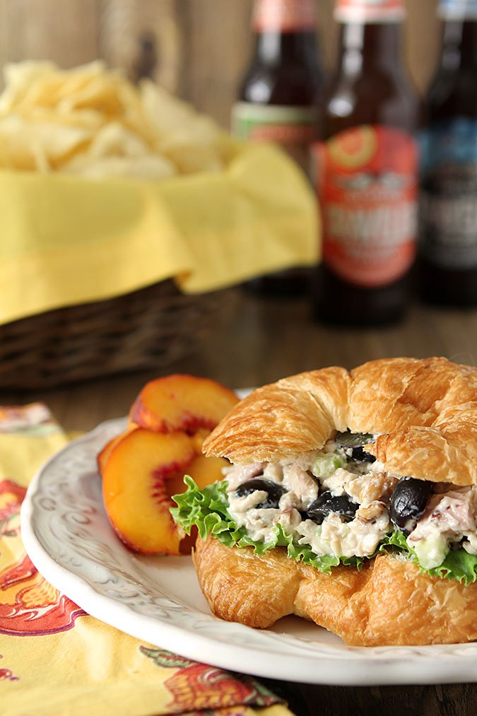 Gorgonzola Chicken Salad Sandwich with Grapes and Walnuts