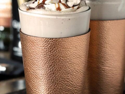 Guinness Vanilla Malted Milkshake with Irish Whiskey Whipped Cream in a Copper Glass