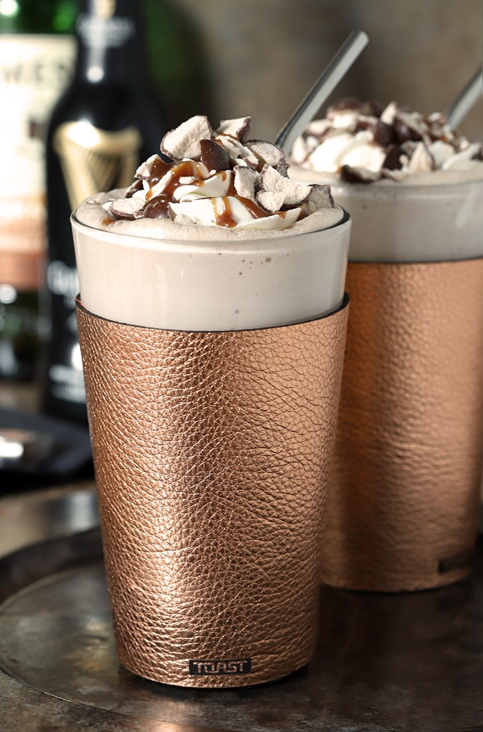 Guinness Vanilla Malted Milkshake with Irish Whiskey Whipped Cream in a Copper Glass