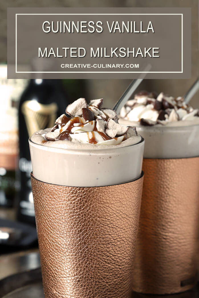 Guinness Vanilla Malted Milkshakes with Caramel and Malted Milk Balls on Top