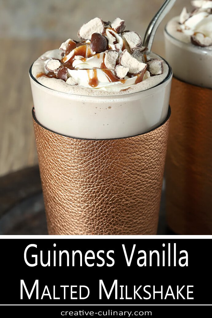 Guinness Vanilla Malted Milkshake with Whipped Cream and Malted Milkball Garnish