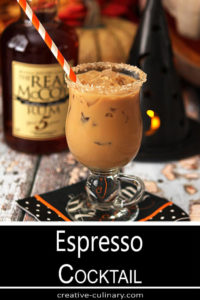 This Rum and Espresso Cocktail Served in a Glass with a Handle is perfect for Halloween