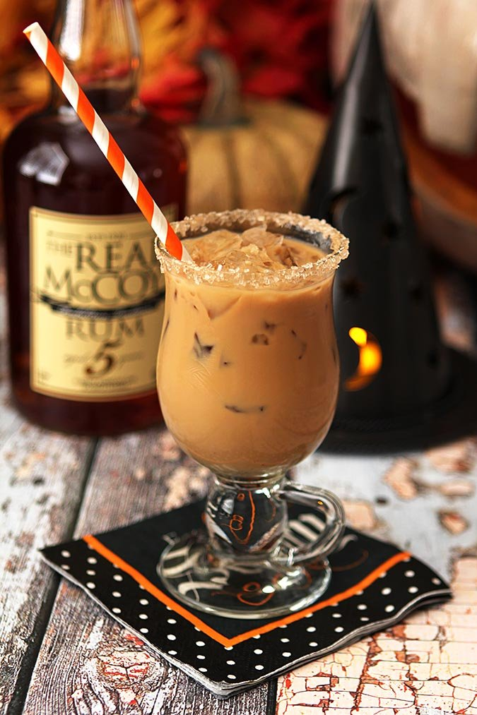 Best Halloween Cocktails - Espresso, Rum, Maple Syrup and Half and Half.