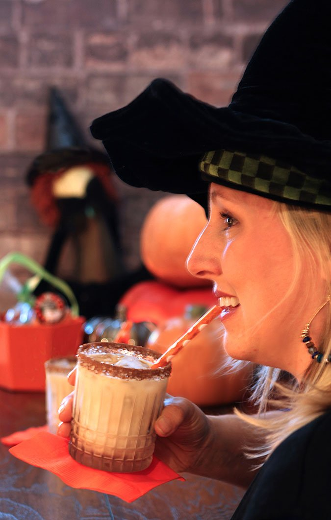 Tequila, Kahlua and Cream Served to a Guest in a Witch's Hat