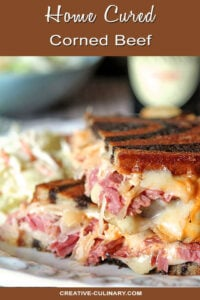 Home Cured Corned Beef on a Reuben Sandwich