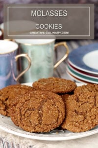 Molasses Cookies Cookie Platter with Dessert Plates and Coffee Cups in Background