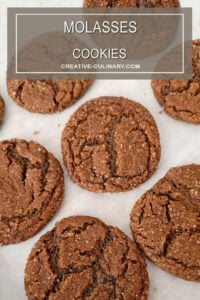 Molasses Cookies on Parchment Paper after Baking