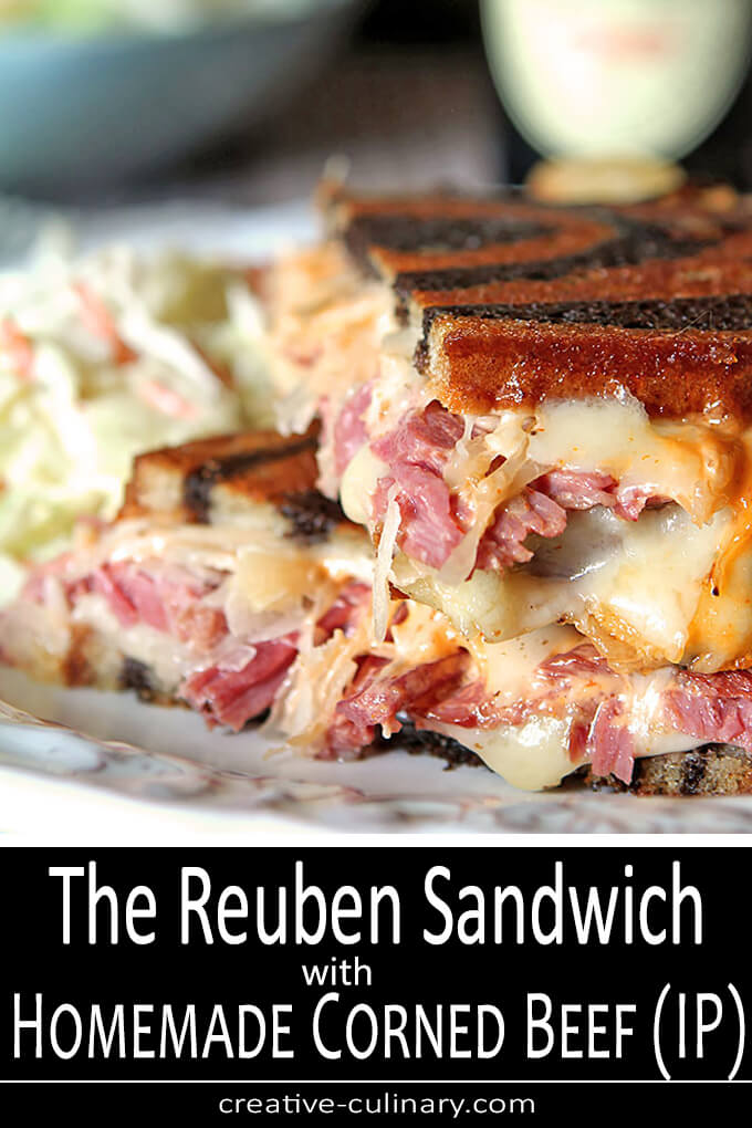 Homemade Reuben Sandwich with Corned Beef cooked in the Instant Pot. Served with sauerkraut and Thousand Island Dressing.