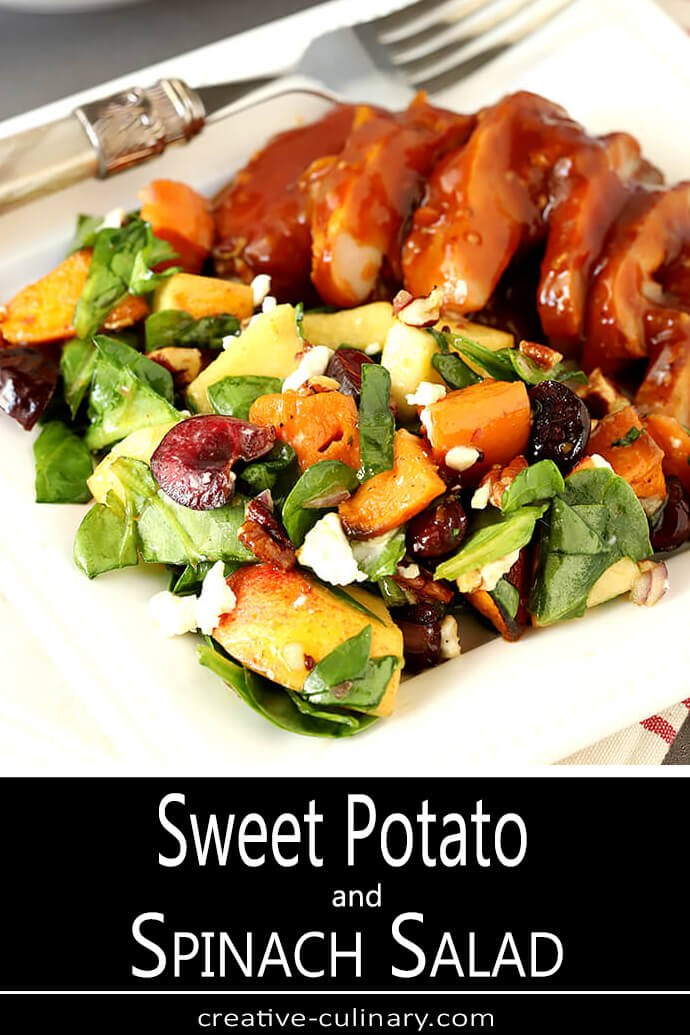 Smoked Chicken Served with Sweet Potato and Spinach Salad with Pecans, Cherries and Goat Cheese