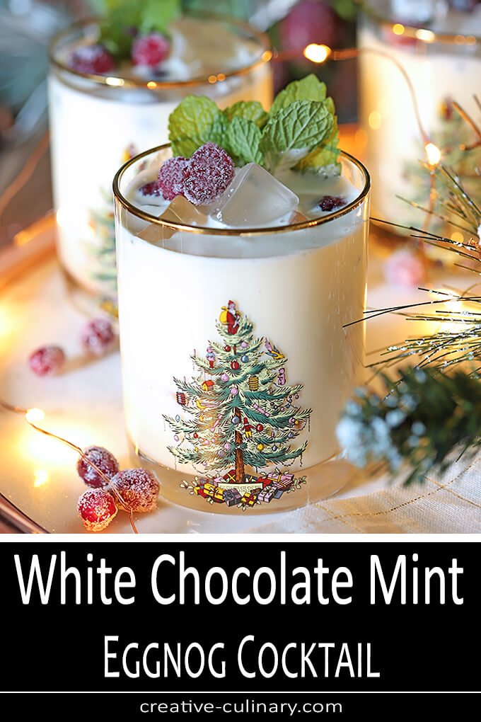 White Chocolate Mint Eggnog Cocktail PIN