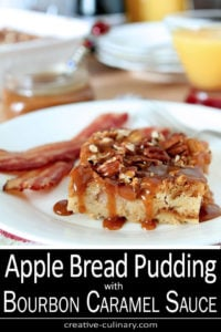 Apple Bread Pudding with Bourbon Caramel Sauce Served With Bacon
