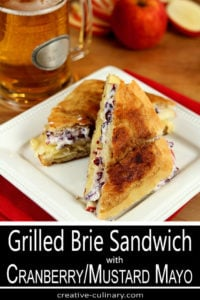 Bried and Apple Grilled Cheese with Cranberry and Mustard Mayo Served on a Square Plate
