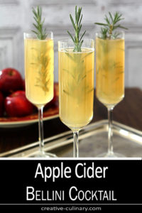 Three Glasses of Apple Cider Bellini Cocktail