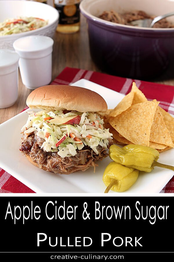 Apple Cider and Brown Sugar Pulled Pork with Coleslaw on a Bun