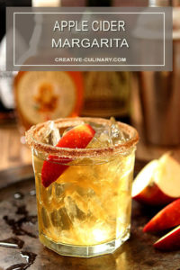 Apple Cider Margarita with Apple Slice Garnish in a Lowball Glass