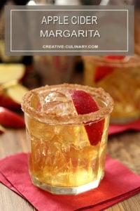 Apple Cider Margarita with Apple Slice Garnish and Cinnamon Sugar Rim and Apple Slice Garnish