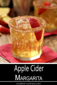 Apple Cider Margarita with Apple Slice Garnish and Cinnamon Sugar Rim