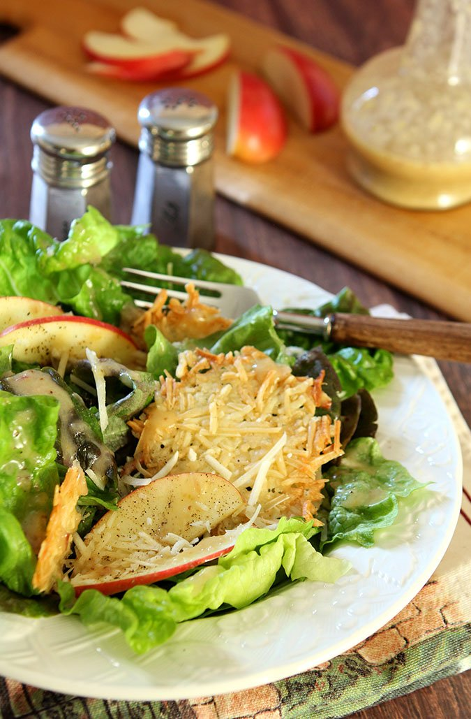 Red Leaf Lettuce and Apple Salad with Parmesan Crisps