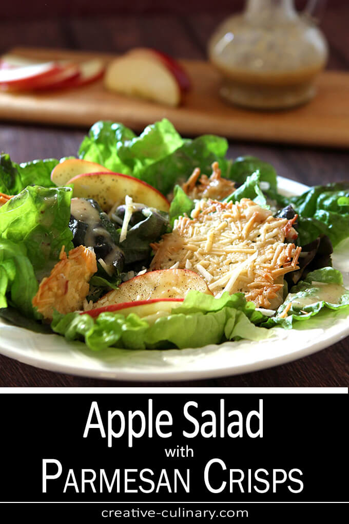 Apple Salad with Parmesan Crisps Served on a White Salad Plate