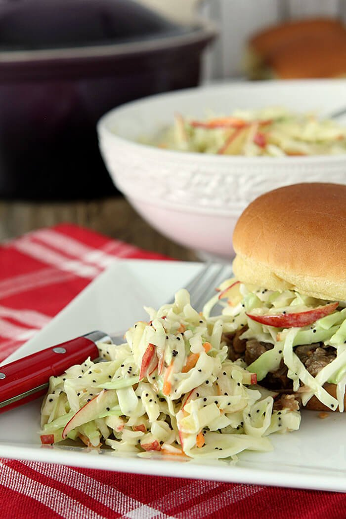 Apple and Poppy Seed Coleslaw Served with Pulled Pork Sandwich