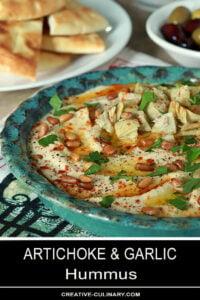 Artichoke Garlic Hummus Garnished with Pinenuts and Parsley