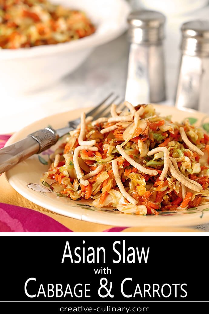 Asian Slaw with Almonds and Sunflower Seeds on White Plate with Fuchsia Napkin