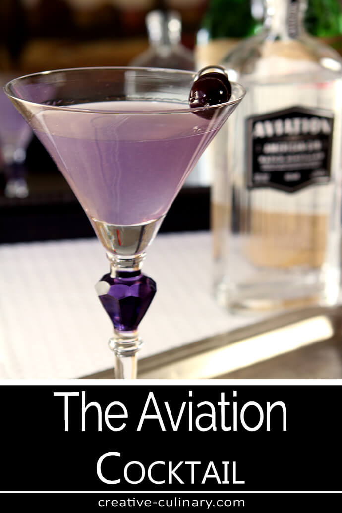 The Aviation Cocktail is a beautiful purple and is served in a martini glass with a purple gem on the stem.