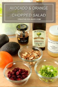 Ingredients for Avocado and Orange Chopped Salad