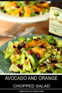 Avocado and Orange Chopped Salad with Cranberries Served on a Green Plate