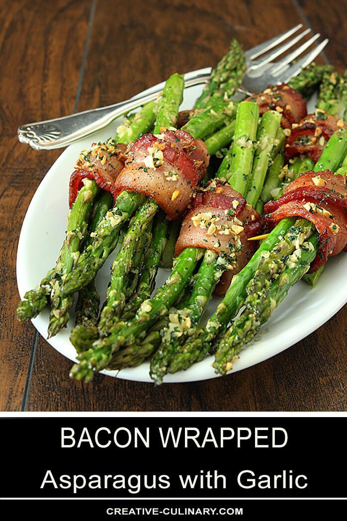 Bacon Wrapped Asparagus with Garlic on a White Serving Plate