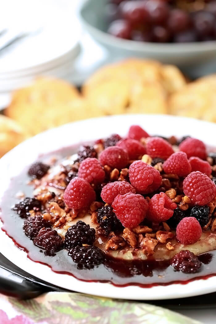 Baked Brie with Fresh Berries and Walnuts with Toasted Baguette Slices