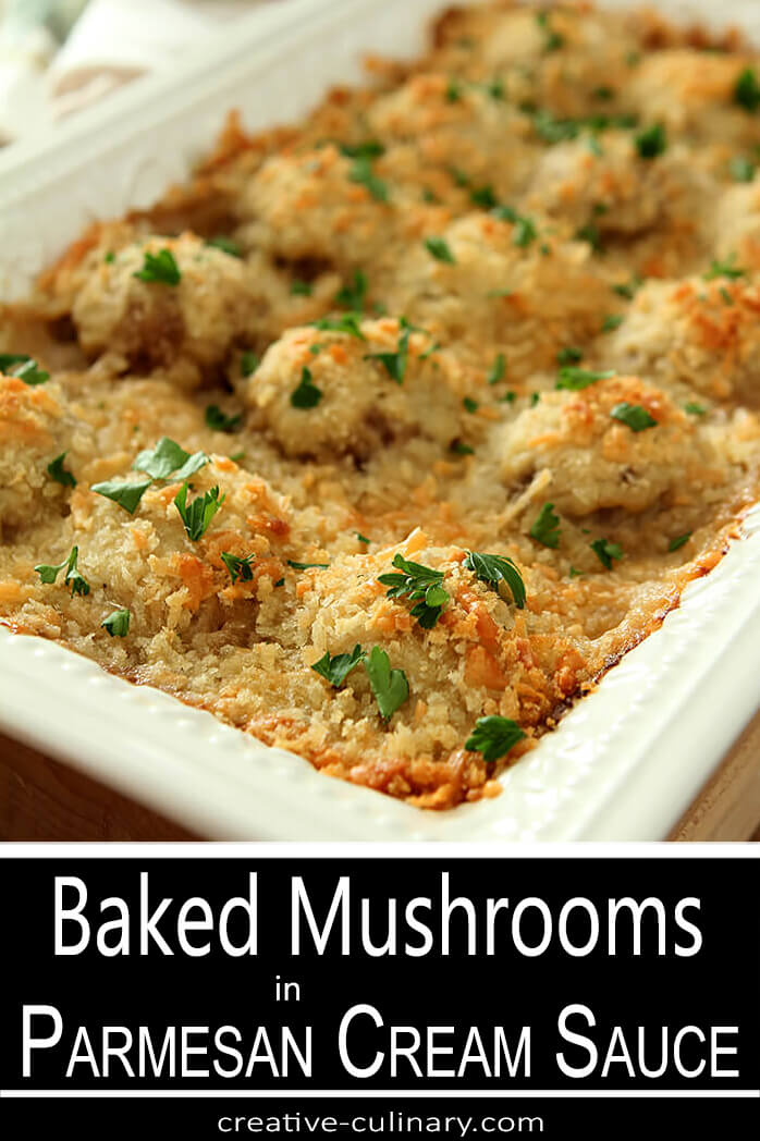 Baked Mushrooms in Parmesan Cream Sauce in a White Ceramic Oblong Cooker