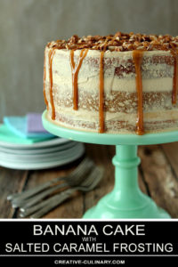 Banana Cake with Salted Caramel Frosting on a Green Cake Stand