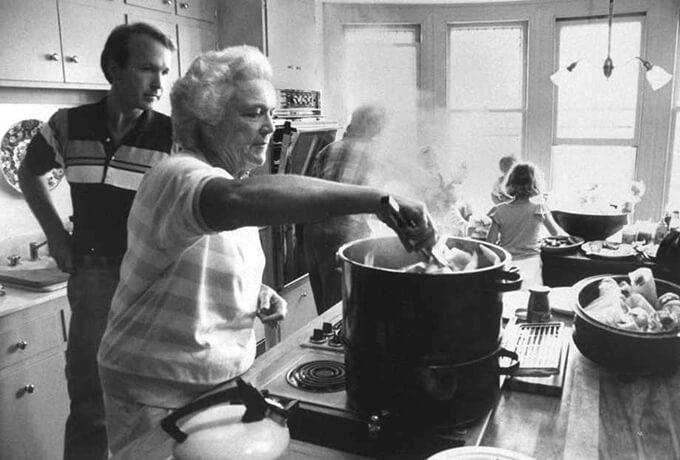 Barbara Bush Cooking in Her Kitchen