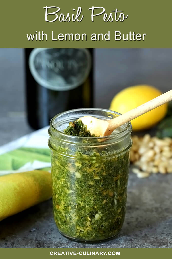 Basil Pesto with Lemon and Butter in a Mason Jar
