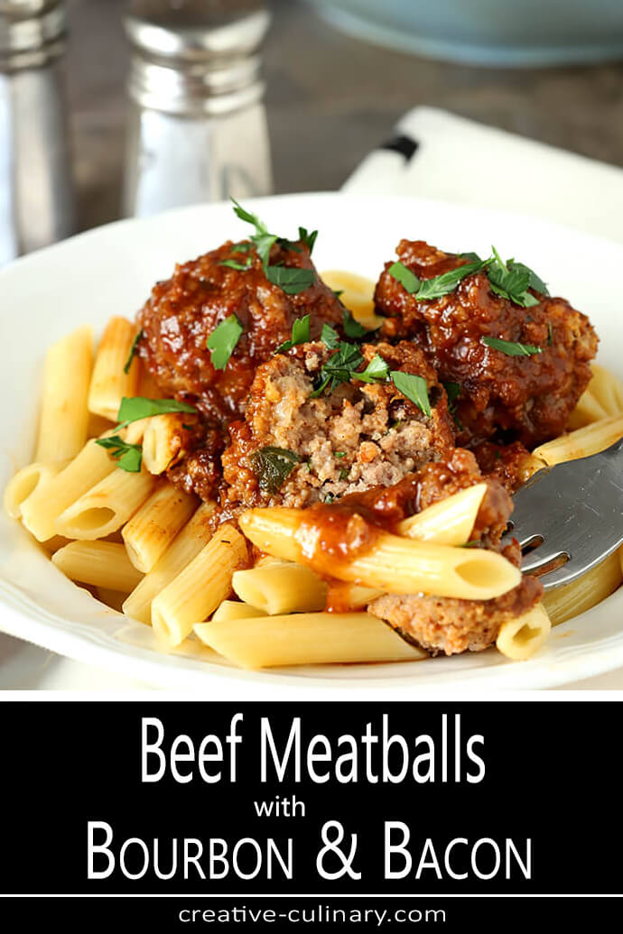 Beef, Bourbon, and Bacon Meatballs in a White Bowl with Penne Pasta