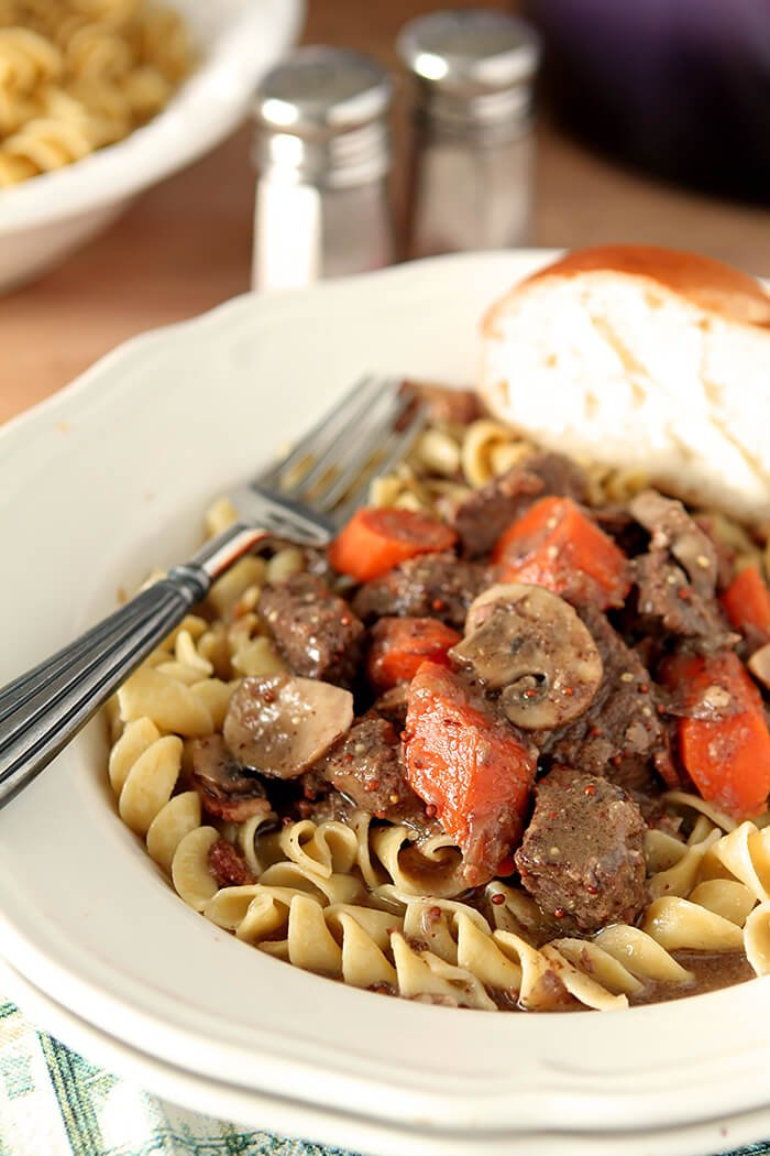 Beef Stew with Mustard and Cognac With Carrots Ser