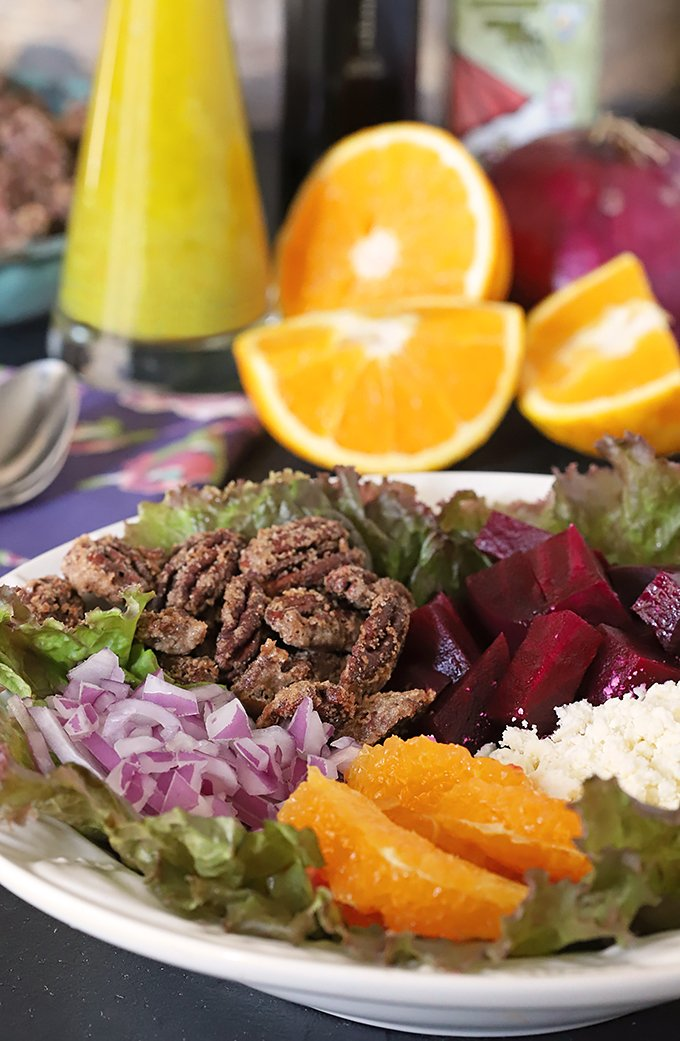 Beet Salad with Oranges & Feta Cheese also includes Candied Pecans and Red Onion