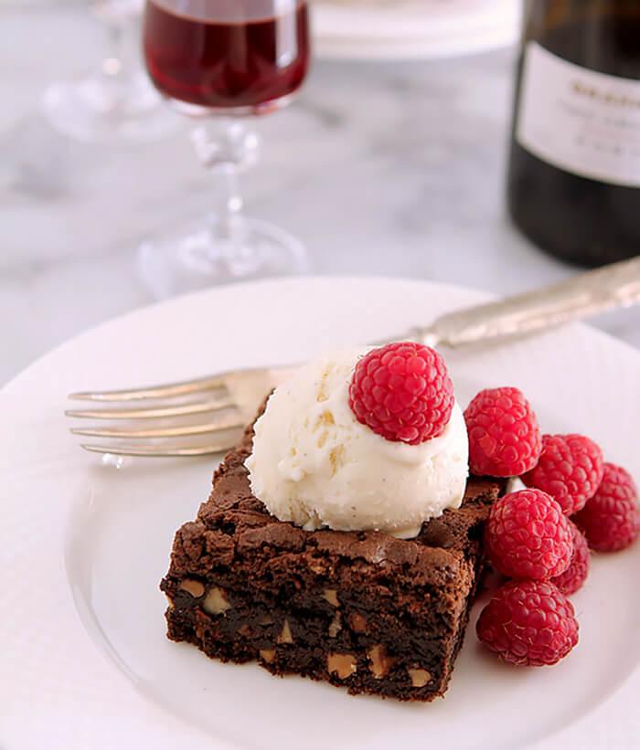 Valhrona Chocolate Brownies with Vanilla Ice Cream and Fresh Raspberries