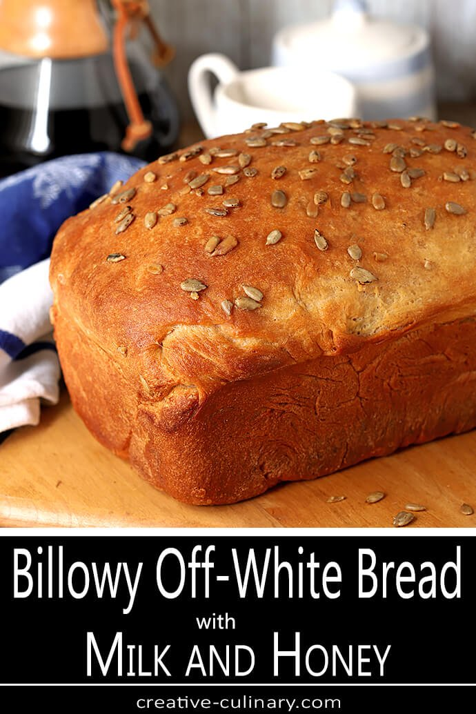 Loaf of Billowy Off-White Bread with Sunflower Seeds